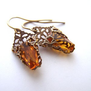 Image of Trapezoid Deco Dangles in Golden Topaz