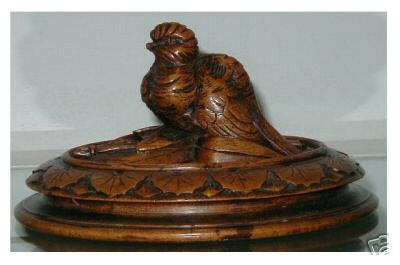 Image of Rare Antique Black Forest Treen Pot Lid Paperweight