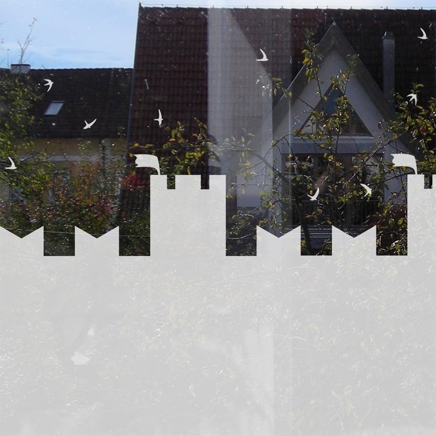 Image of Fensteraufkleber für Kinderzimmer - Burg mit Schwalben