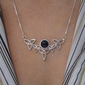 Image of Trinity Knot Gemstone Celtic Pendant Necklace with 16 Inch Box Chain .925