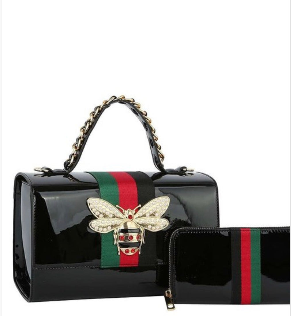 Image of Queen Bee Stripe Patent Glossy Boxy Satchel Set