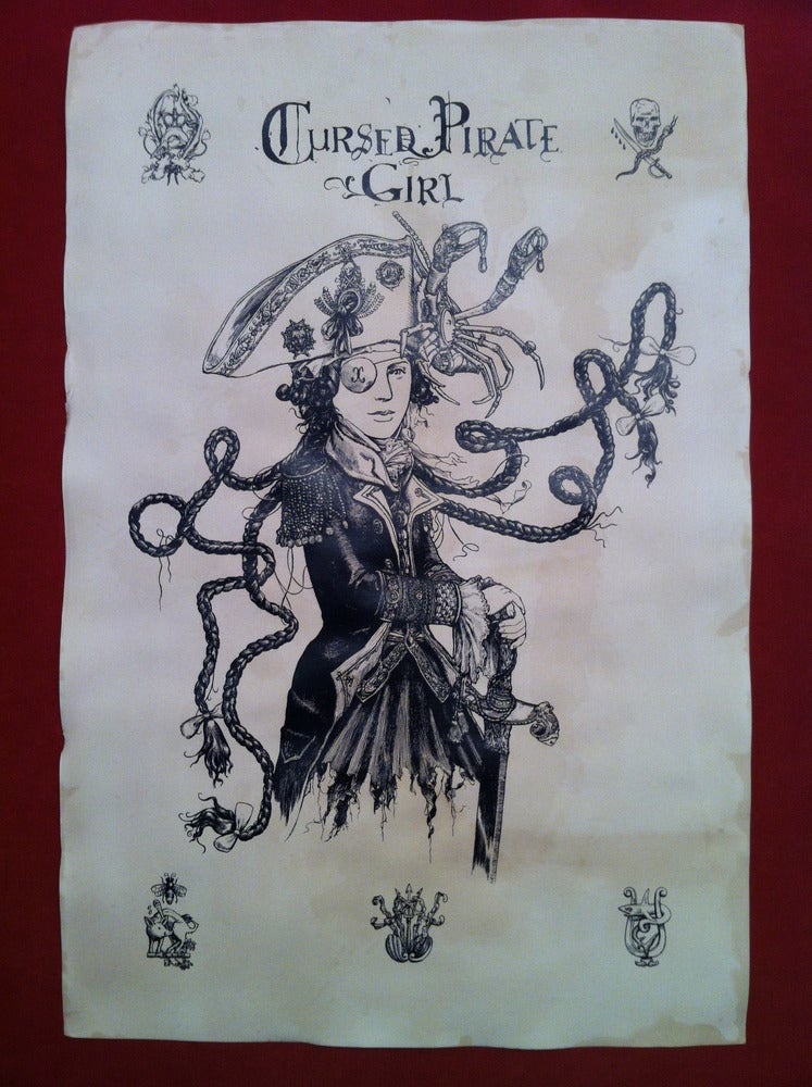 Image of Cursed Pirate Girl -hand stained print
