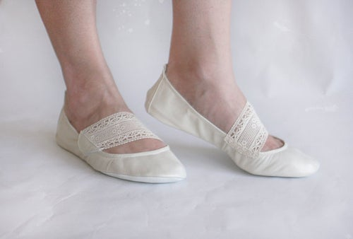 Image of Ballet Flats Foldable - Leather and Lace - Wedding shoes
