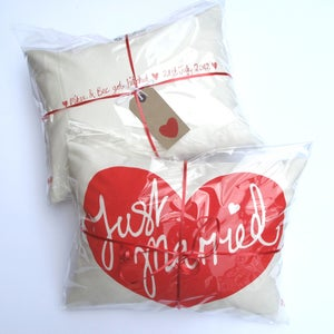 Image of Just Married Personalised Cushion