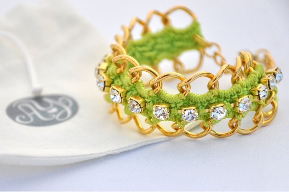 Image of  Crocheted Green bracelet in gold Chain with strass