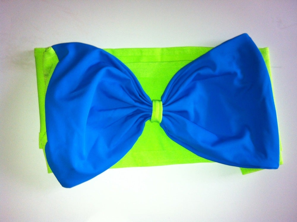 Image of Lime green and Blue Bandeau top