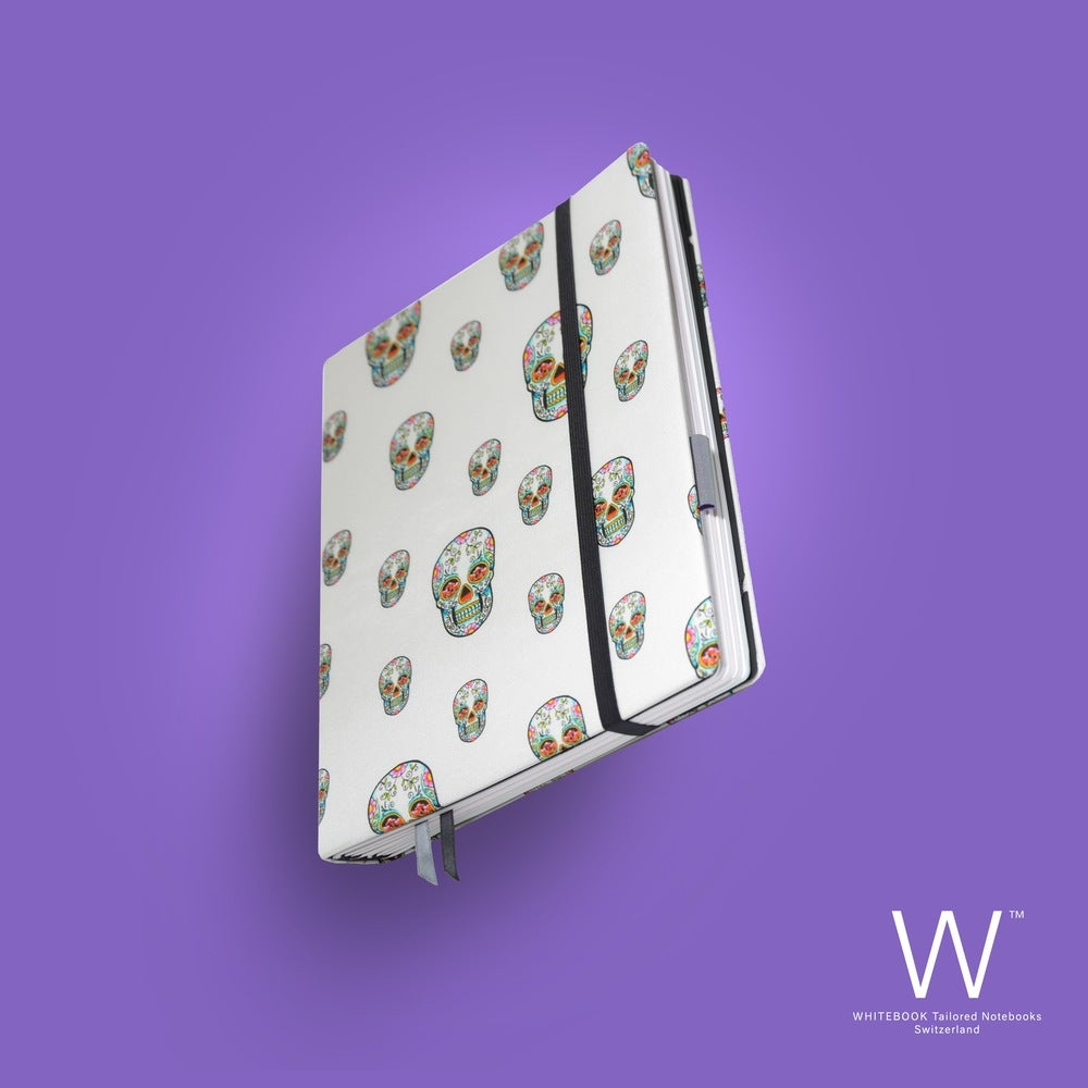 Image of Whitebook Haute Couture H011, white skull print pure silk, 240p.  (fits iPad / Air / Mini / Samsung)