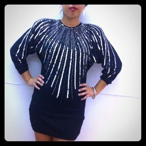 Image of Vintage Sequins Sweater Dress