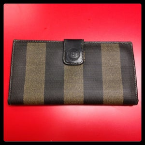 Image of Fendi Striped Wallet- Black/Brown
