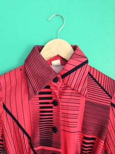 Image of Coral-y red long sleeve dress with black stripes & black buttons