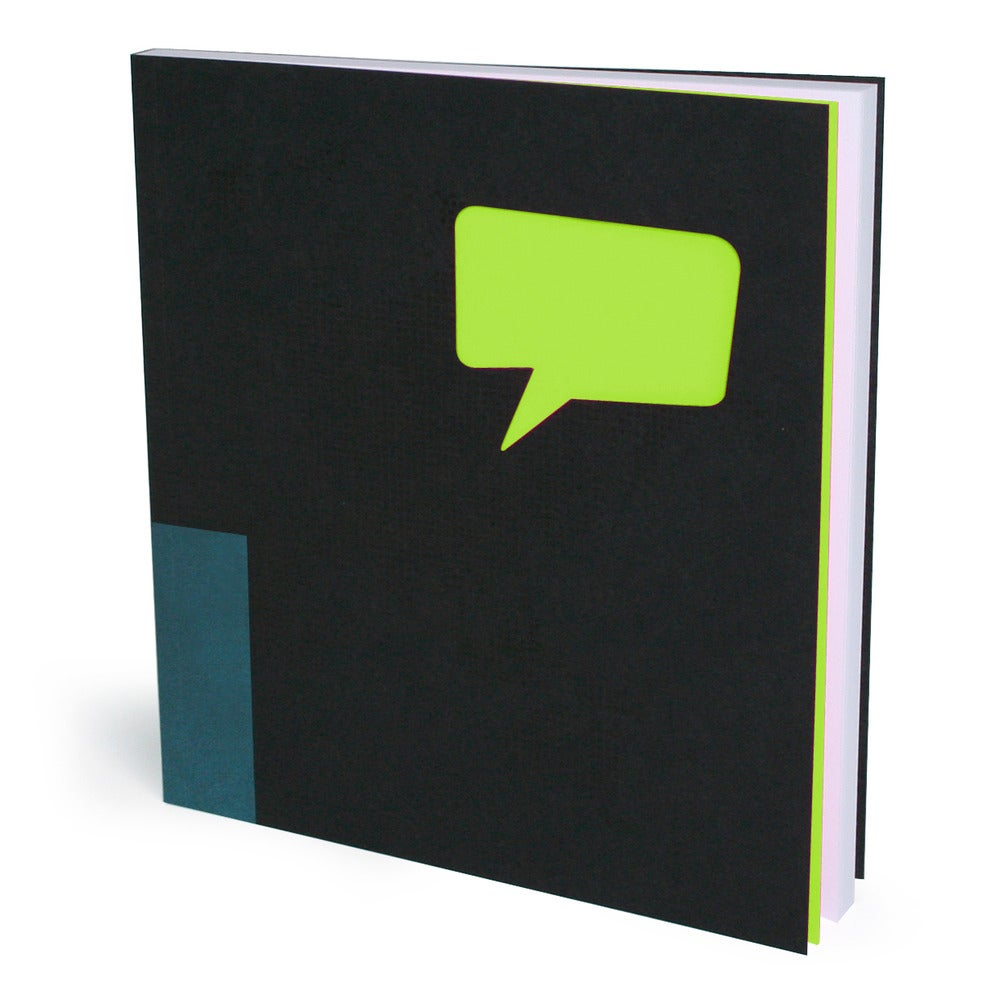 "Image of Speech Bubble Black Blank Book / Blank Notebook - 100 Pages, Blank Format, 6"" x 6 3/4"", Sketch Book"