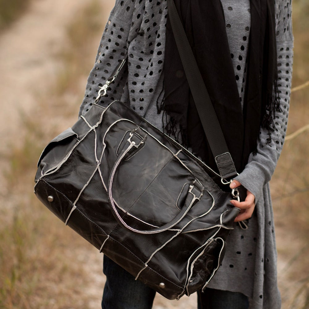 Image of Vintage Handmade Antique Cow Leather Women's Handbag Shoulder Bag Messenger Bag in Black (m11-2)