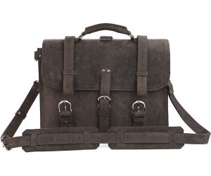 Image of Large Vintage Handmade Crazy Horse Leather Travel Bag / Satchel - Backpack / Messenger (n53-3)