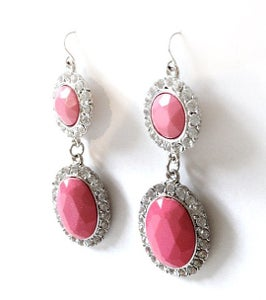 Image of Pink Gem Diamante Drop Earrings