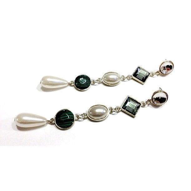 Image of Exclusive Pearl & Green Gem Drop Earrings