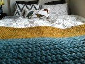 Image of Striped Herringbone Blanket