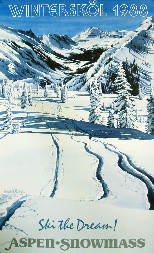 Image of 1988 Aspen Snowmass Winterskol Vintage Poster