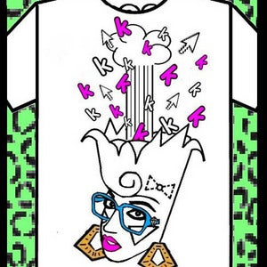 Image of The exploding head Keshirt (pink and blue)