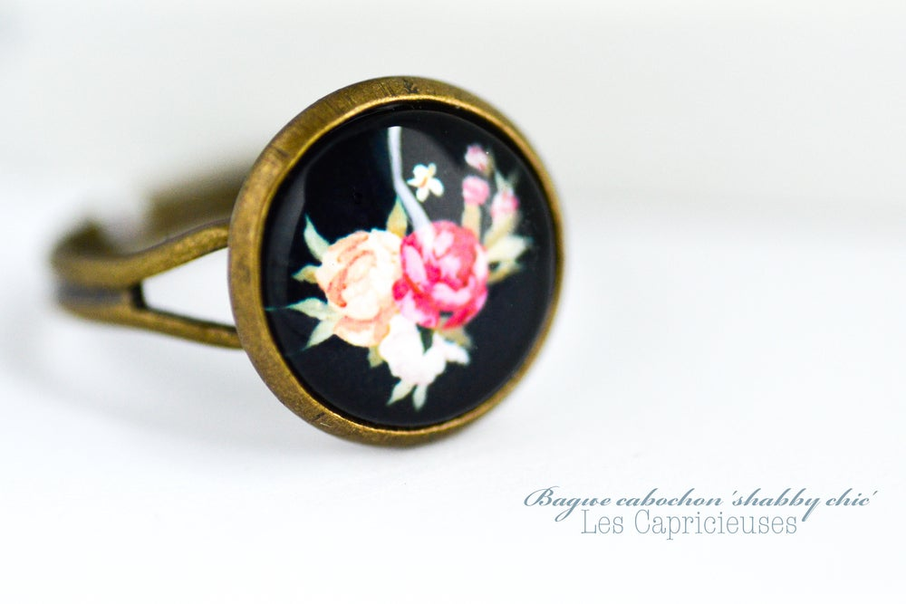 Image of Bague 'Shabby chic' illustration sous verre cabochon