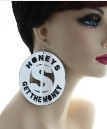 "Image of ""Silver Honey Get The Money"" Earrings"