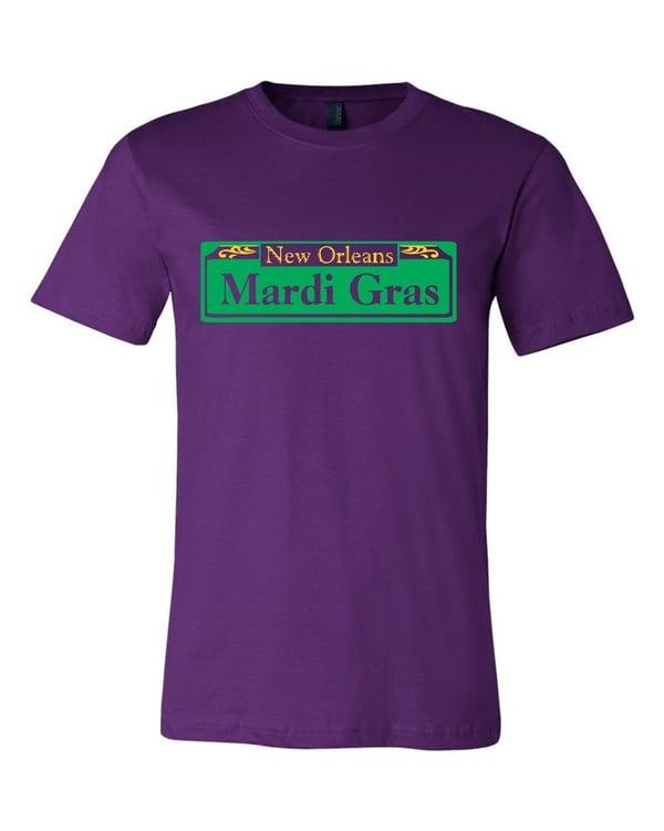 Image of Mardi Gras Street Sign Purple Tee