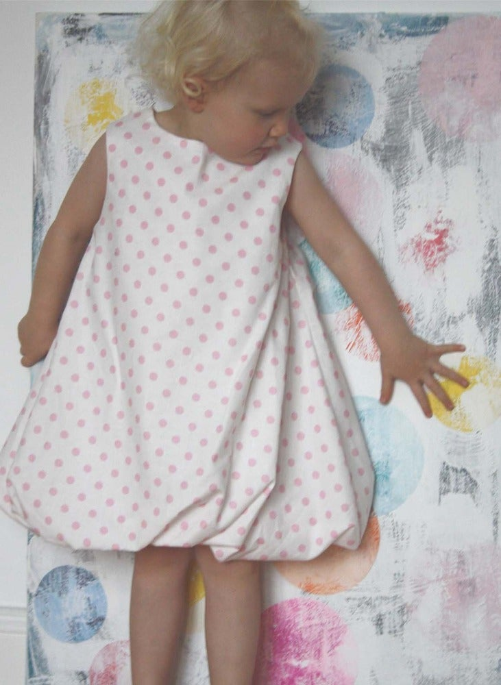 Image of Balloon Dress-pink dot
