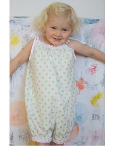 Image of 50s Playsuit-green dot