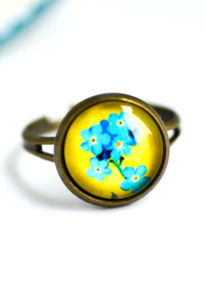 Image of Bague bronze Ines fleurs jaune bleu