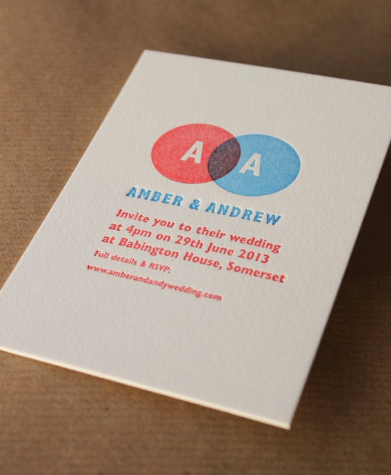 Image of  Letterpress Wedding Invitations 'Amber' // 2 Colour, Made to order