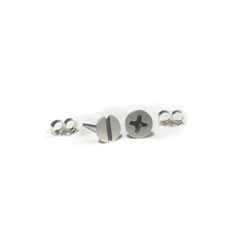 Image of small screw earrings silver or brass
