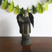 Image of Antique wood statue of Saint Vincent