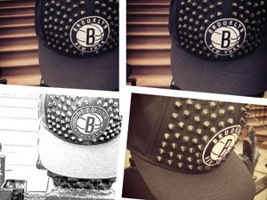 "Image of Brooklyn Nets ""Brownstone"" Custom Studded Snapback by Gabriel Stylez"