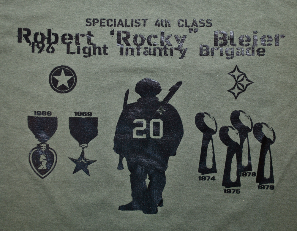 "Image of Rocky Bleier ""Guts & Grit"" Football Champ & Army War Hero tribute tee"