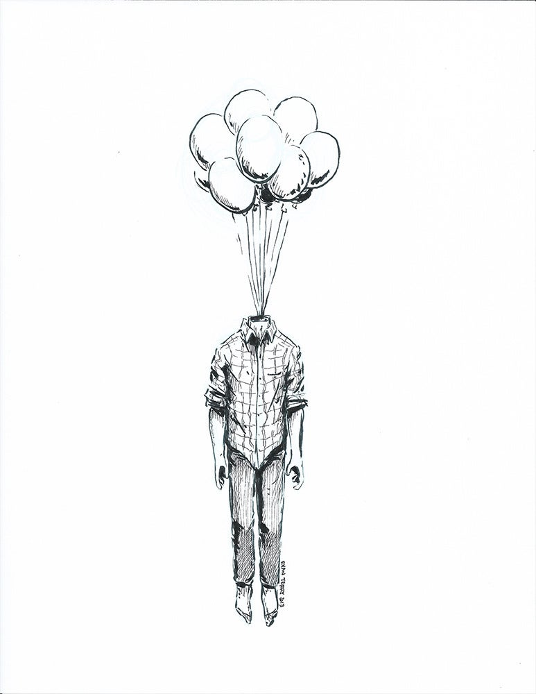 Image of Head Balloon (original ink artwork)