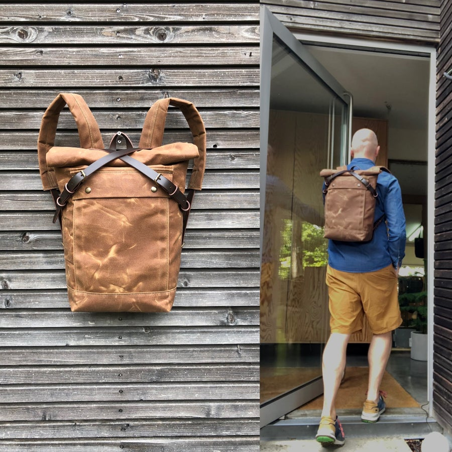 Image of Waterproof backpack medium size rucksack in waxed canvas, with volume front pocket and double layere