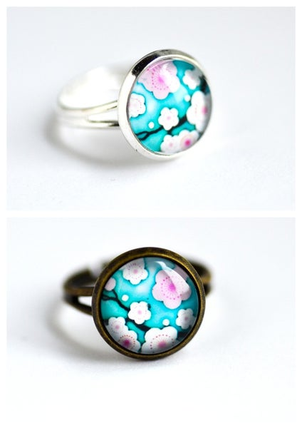 Image of Bague Cherry Blossom bleu
