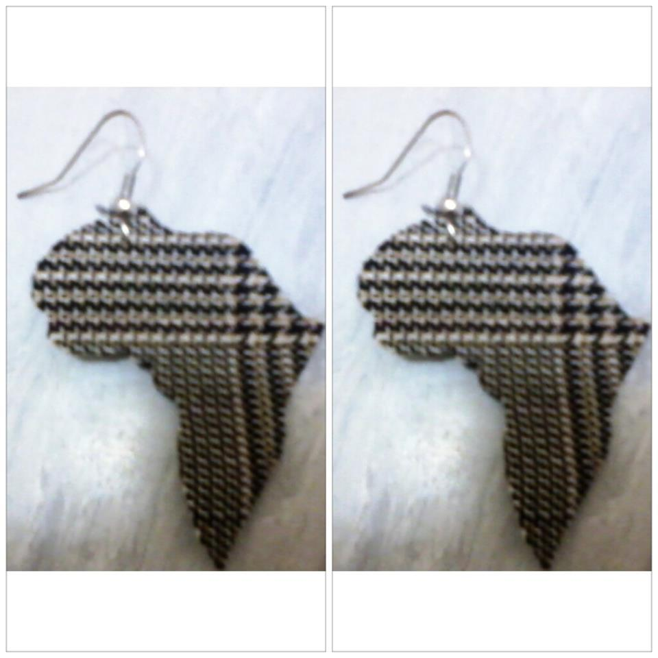 Image of Tartan Africa Shaped Earrings