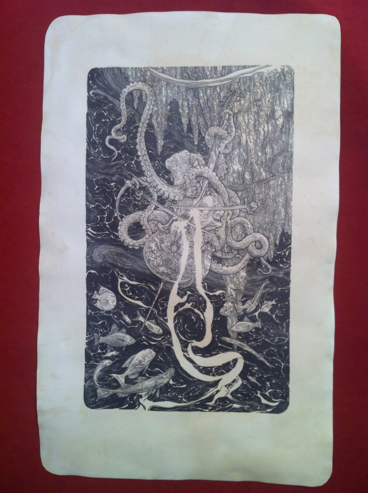 Image of the Octopus and the Silver Cello -hand stained print