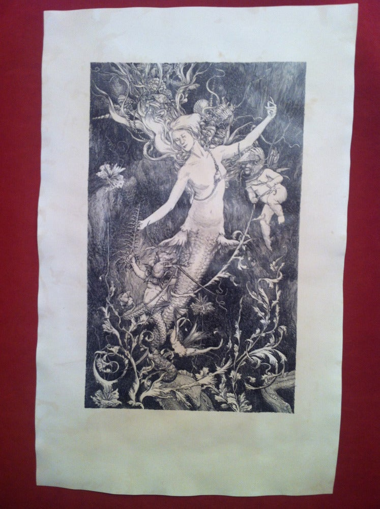 Image of The Sea King Saves His Mother From The Eel's Garden -hand stained print