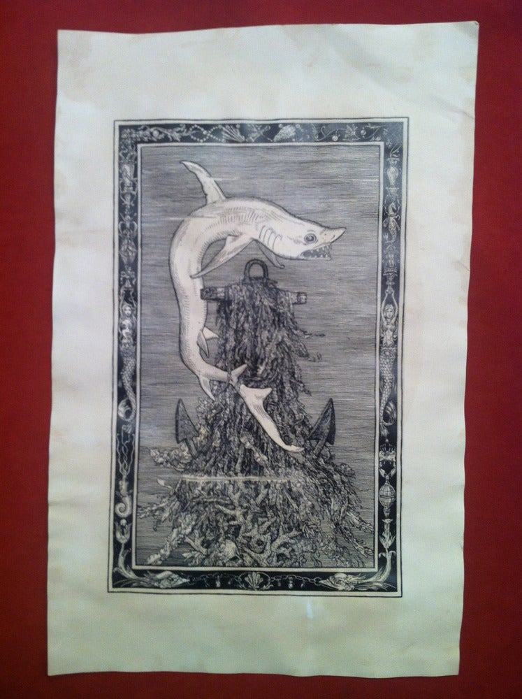 Image of the Shark -hand stained print