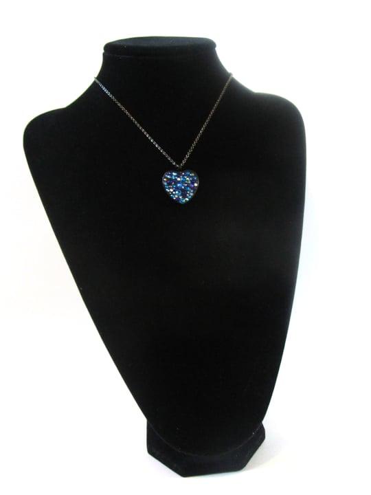 Midnight Rocks Blue Black Heart Pendant