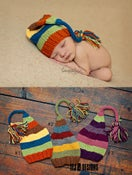 Image of Long Tail Knitted Hats - NEWBORN Size - 3 Color Combos - Photography Prop - $25.50 OFF!