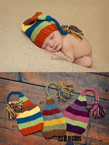 Image of Long Tail Knitted Hats - NEWBORN Size - 3 Color Combos - Photography Prop - $29 OFF!