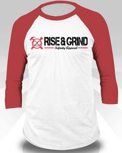 Image of Rise & Grind Baseball Tee (Red)