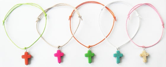 Image of Coloured Cross Charm Bracelet