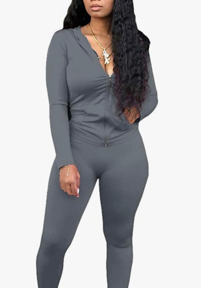 Image of CHARCOAL TRACKSUIT TWO PIECE SET