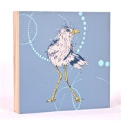 Image of Blue Grey with Shore Bird 7 x 7