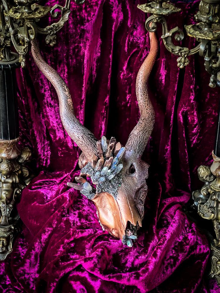 Image of Copper Quartz & Gray Rainbow Quartz - Blackbuck Skull