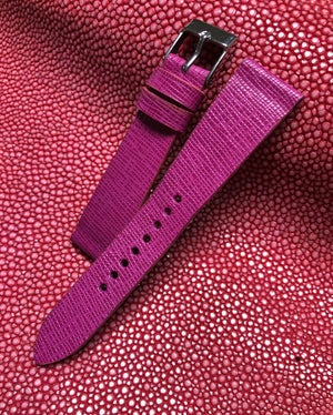 Image of Orchid Saffiano Calfskin -hourglass cut- Watch Strap