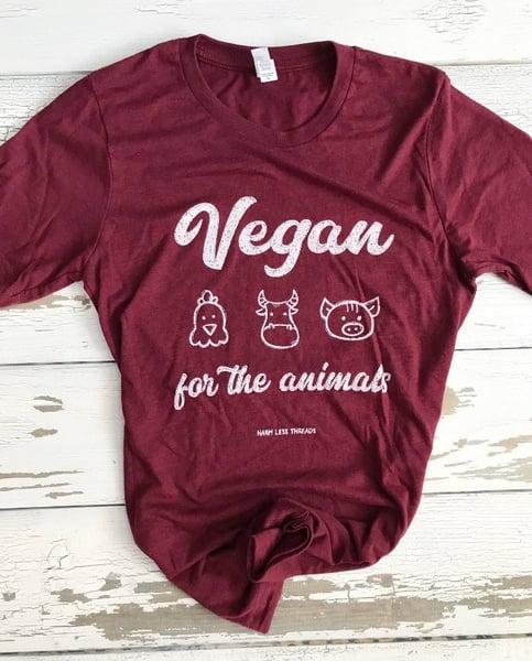 Image of SALE -Vegan for the animals unisex tee (maroon)